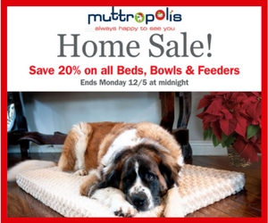 Home Sale! Save 20% on Dog Beds & Bowls at Muttropolis + Free Shipping over $50. Coupon Code: HOME20